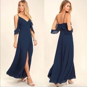 Lulus Navy Ruffle Cold Shoulder Dress